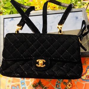 Limited Edition Chanel Backpack Black Velvet